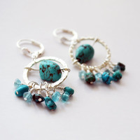 Boho Dangles, Aqua, Turquoise, Blue Green Apatite Womens Earrings wire wrapped silver Earrings hammered silver Drop Earrings country western