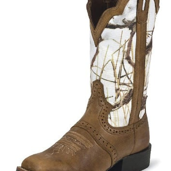 Justin Tan Dakota Cow Western Boot With White Camo