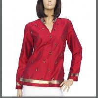 Silk cotton deep neck  sleeve tops kurta/tunics
