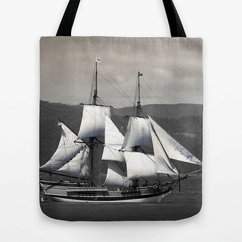 Nautical bag, Pirate Ship, tote, MEDIUM, sailing, Lady Washington, sailboat, Astoria, Oregon, photo, Columbia River, women gift, beach, grey