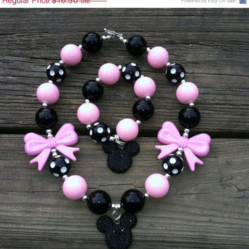 Christmas Sale Pink Black Polka Dot Minnie Mouse Chunky Bubblegum Necklace/Bracelet Set