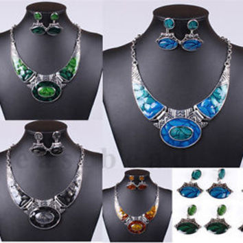 Retro Women Fashion Tribal Tibet Silver Chunky Bib Choker Necklace Earrings Set