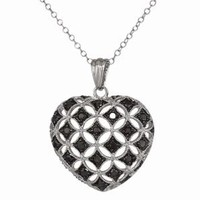 Sterling Silver Black Diamond Heart Pendant Necklace (.50 cttw), 18""