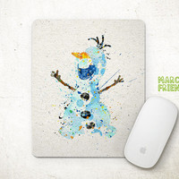 Olaf Mouse Pad, Frozen Watercolor Art, Mousepad, Office Decor, Holidays Gift, Art Print, Kids Room, Desk Deco, Disney Accessories