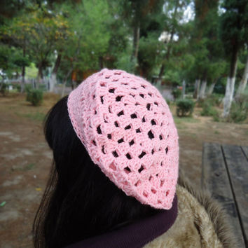 women's crochet beret hat, pink crochet beret, lace hat, crochet hat, winter accessories, womens hat, warm beanie, slouchy hat, chunky beret