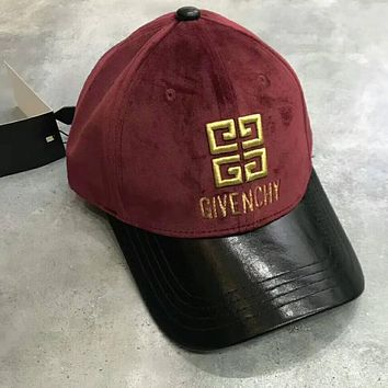 GIVENCHY Popular Lovers Velvet Stereoscopic Embroidered Leather Trimmed With Diamond Adjustable Pull Ring Hat Cap Red I-A-HRWM