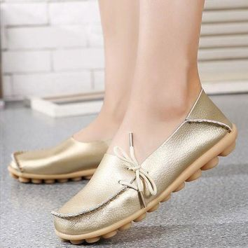 ONETOW Large Size Genuine Leather Women Shoes Mother Shoe Girls Lace-Up Fashion Casual Shoes
