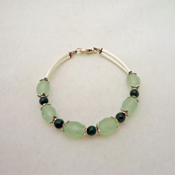 Malachite and Prehnite Bracelet, Gemstone Bracelet, Gemsone Bracelet in Green