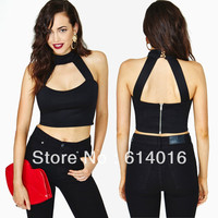 womens fashion harajuku sexy zipper back racerback turtleneck top cutout short design vest t-shirts women clothing punk tshirt
