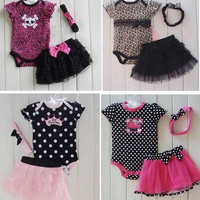 18pcs children clothing set baby romper headband skirt girl fashion cotton toddler jumpsuit 14 styles infant outfits bodysuit 3pcs=1set D043