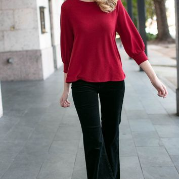 Wrapped Up in You Bow Back Top in Red