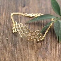 Beautiful Honeycomb Honey Bee Hexagon Geometric Bracelet in Gold