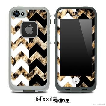 Real Cheetah & Black/White Chevron Pattern Skin for the iPhone 5 or 4/4s LifeProof Case