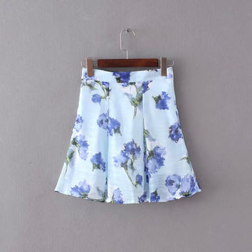 Floral Print Zipper Elastic Waist Mini Skirt