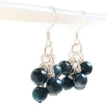 Dark Blue Earrings / Cluster Earrings / Beaded Dangle  Earrings / Deep Blue