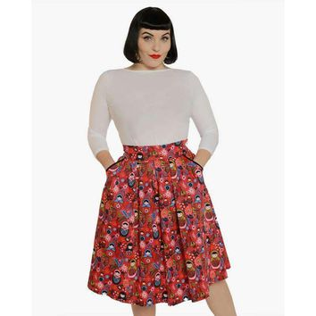 'Daniella' Pink Russian Doll Print Swing Skirt by LindyBop