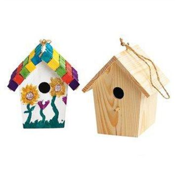 2PCS/LOT.Paint unfinished wood bird house,Bird cage, Garden decoration,Spring products,Home ornament. 6x6x9 cm,Freeshipping