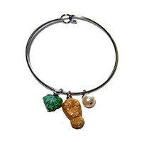 Nature Lover, Owl Silver Bangle Bracelet