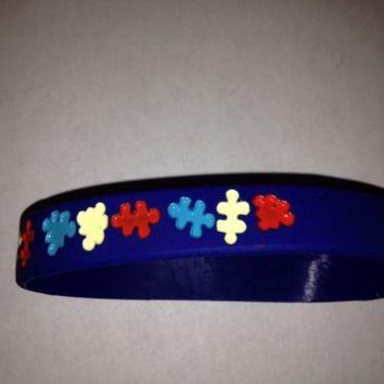 Autism Awareness Silicone adult size Bracelet