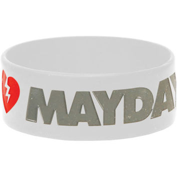 Mayday Parade Men's Logo Rubber Bracelet White