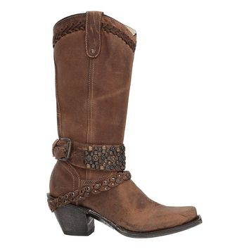 CORRAL Women's Woven Stud and Harness Boot Square Toe - G1398