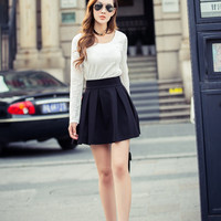 Lace Long Sleeve Top with A-Line Pleated Mini Skirt Set