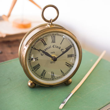 Round Desk Clock with Antique Brass Finish Small