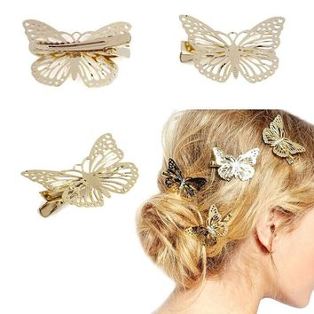 Fashion Exquisite Metal Hollow out Butterfly shape Hairpins Hair Clips Women Satement Hairwear Accessories Jewelry