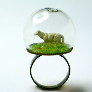 Sheep on grass. Glass dome ring. Terrarium by GoldFingerBarcelona