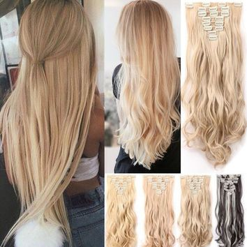 17-26 inchs straight full head clip in hair extensions for women ladies girls