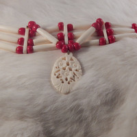 Bone choker, three strand with glass pony beads and hand carved bone drop, floral- women's regalia, traditional dancer- Native American made