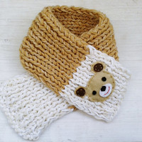 Teddy Bear Toddler Scarf, Boy, Girls Scarfs , Knitted Children Scarf, Brown white Scarf, Winter Scarf, Infant Scarf, neck warmer
