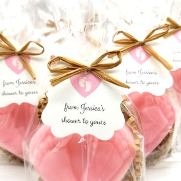 Baby Shower Favors, Rustic Baby Heart Foot Print Soaps, Set of 12
