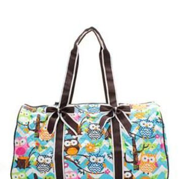 Chevron Owl Print Quilted Duffel Bag - 3 Color Choices