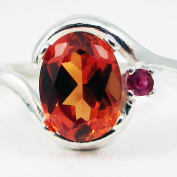 Orange Sapphire Oval and Ruby Accent Ring Sterling Silver .925, September Birthstone Ring, Orange Sapphire Oval Ring, 925 Sterling Ring