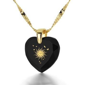 """""""I Love You to the Sun and Back"""", 14k Gold Necklace, Cubic Zirconia"""