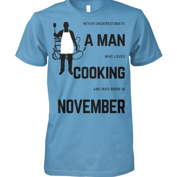 Man Who Loves Cooking November Funny Graphic T-shirt Men, Men's Tops