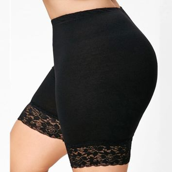 Womens Plus Size Mid Waist Lace Hot Shorts Elastic Sports Yoga Shorts Pants