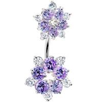 Sterling Silver 925 Lavender Cubic Zirconia Flower Belly Ring | Body Candy Body Jewelry