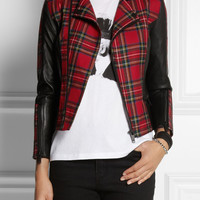Karl Lagerfeld | Vicious leather-trimmed tartan wool biker jacket | NET-A-PORTER.COM