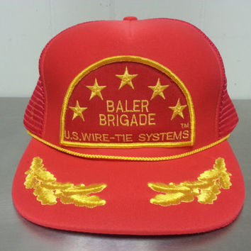Vintage 80's 90's Baler Brigade US Wire – Tie Systems Patch Red Mesh Trucker Snapback Dad Hat Scrambled Eggs Military Branches