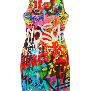 Moschino Graffiti Print Mini Dress - Hirshleifers - Farfetch.com