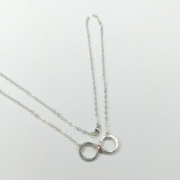 Sterling Silver Rose Crystal Infinity Necklace