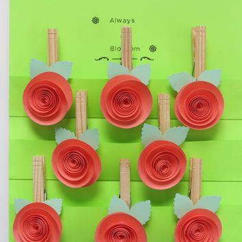 Coral Rose Magnetic bag clips, salmon pink paper flower clothes pin magnets, set of 8 party favors, baby shower games, bridal party