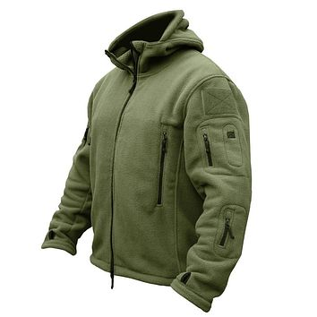 Military Men Fleece Tactical Softshell Jacket Outdoor Polartec Thermal Sport Polar Hooded Coat Men Outerwear Clothes