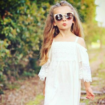 Princess lace princess dress White Flower Girls Princess Dress Kids Baby Party Wedding Pageant Lace Dresses Clothes Drop ship