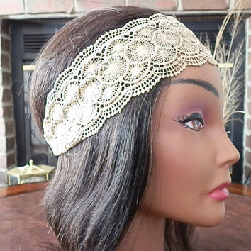 Lace Headband, TAUPE Lace head wrap, Wide Lace head bands, Floral Lace, Wedding hair band, Bohemian lace, Great Gatsby headband for women
