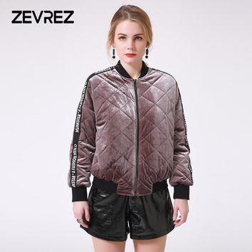 Winter Female Velvet Quilted Jacket Brand Letter Patchwork Zipper Bomber Padded Short Basic Parkas Women's Outerwear Warm Coat