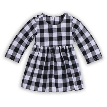 Newborn Baby Kids Girl Dress Plaid Bridesmaid Wedding Pageant Party Princess Tutu Prom Dress