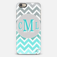 Turquoise White Gray Chevron Custom Slim Phone Case with Initials